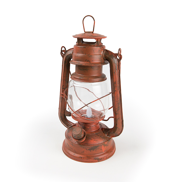 old red led lantern with flickering flame cc7537