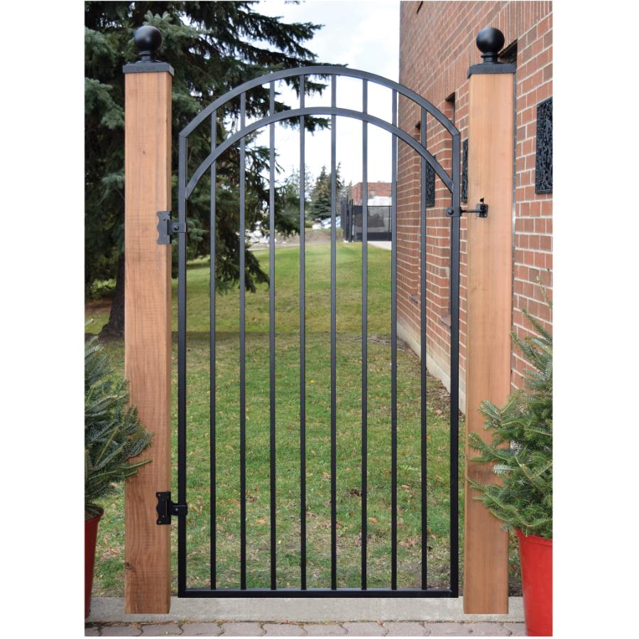 Diy Universal Fence Meriden 4 Ft W X 4 5 Ft H Opening Single Arched Aluminum Gate Gr954a048archbl The Home Depot