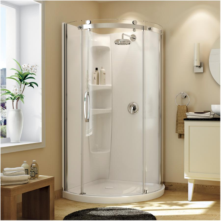 Maax Olympia Round Left Hand Shower Door and White Base with