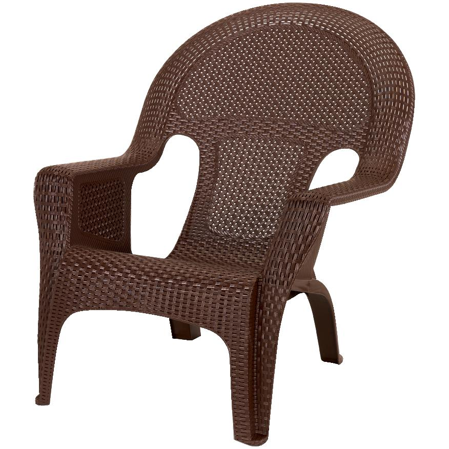 Earth Brown Resin Wicker Stacking Chair, Woven Resin Wicker Outdoor Furniture