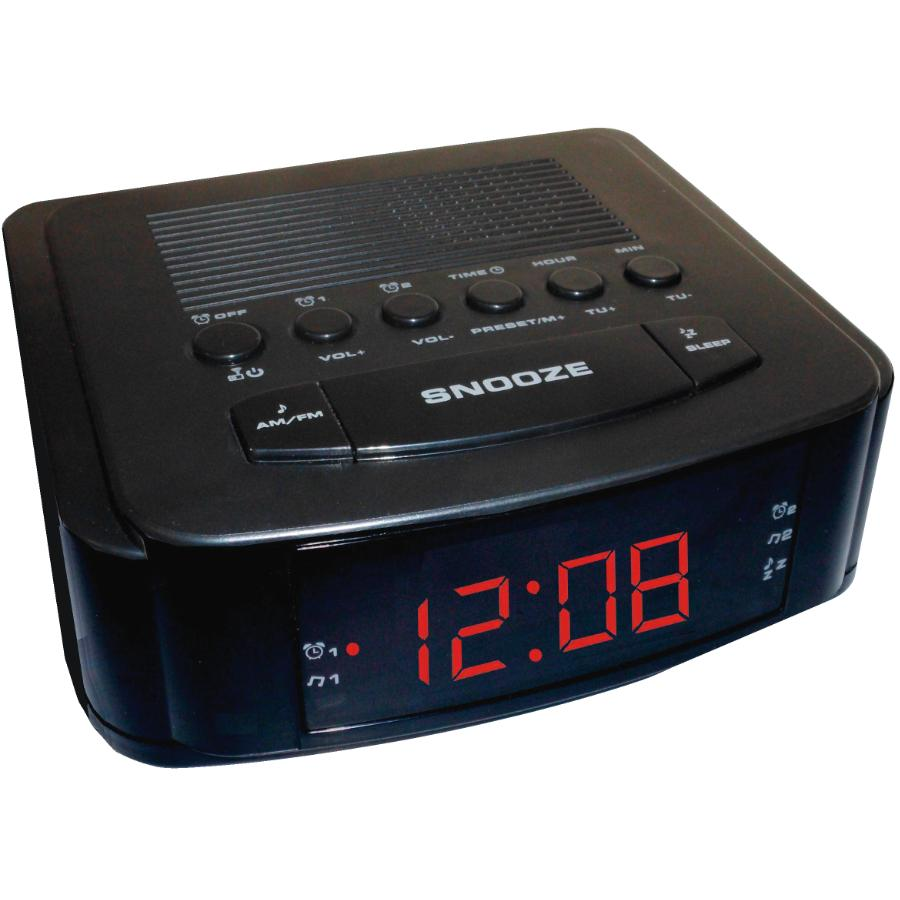 Audiologic 1 Alarm Red LED Black Display Clock Radio   Home