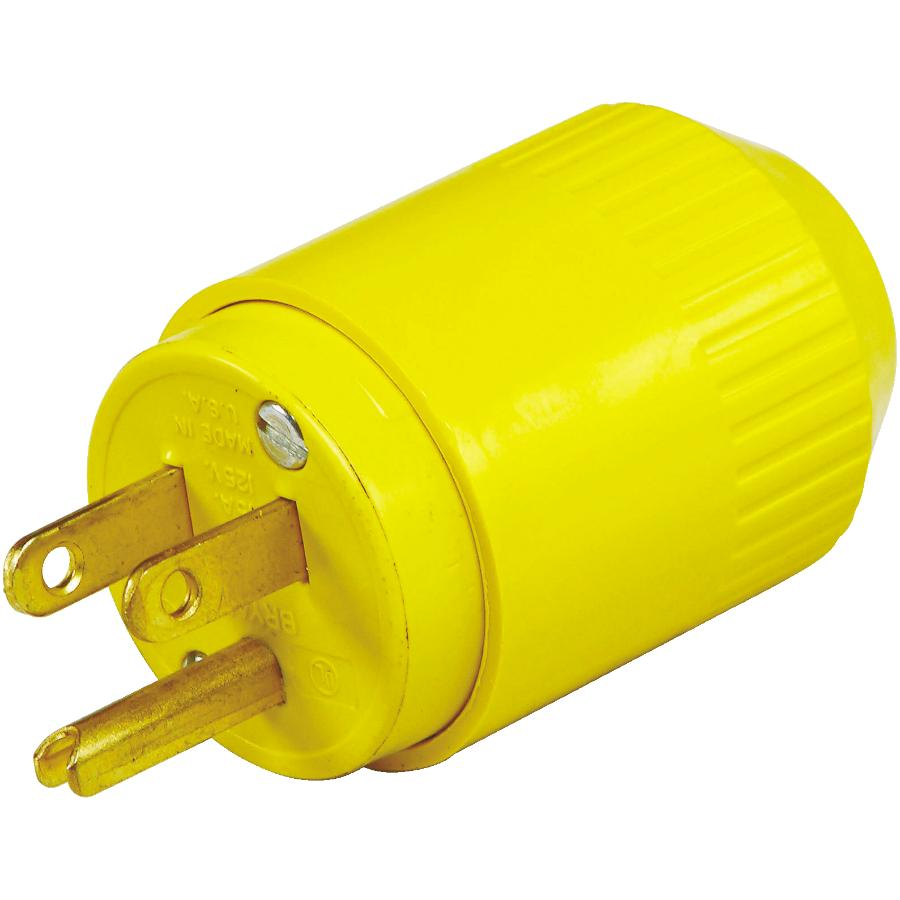 HUBBELL 3 Wire 15 Amp 125V Yellow Electrical Plug