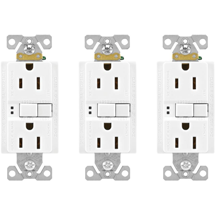 Eaton 3 Pack 15 Amp White Self Test Gfi Receptacles Home Hardware Cooper Wiring Devices Decorator Usb Charging Electrical Outlet Canada
