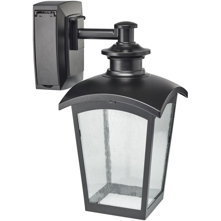 Sunbeam black outdoor downward coach light fixture with gfci outlet