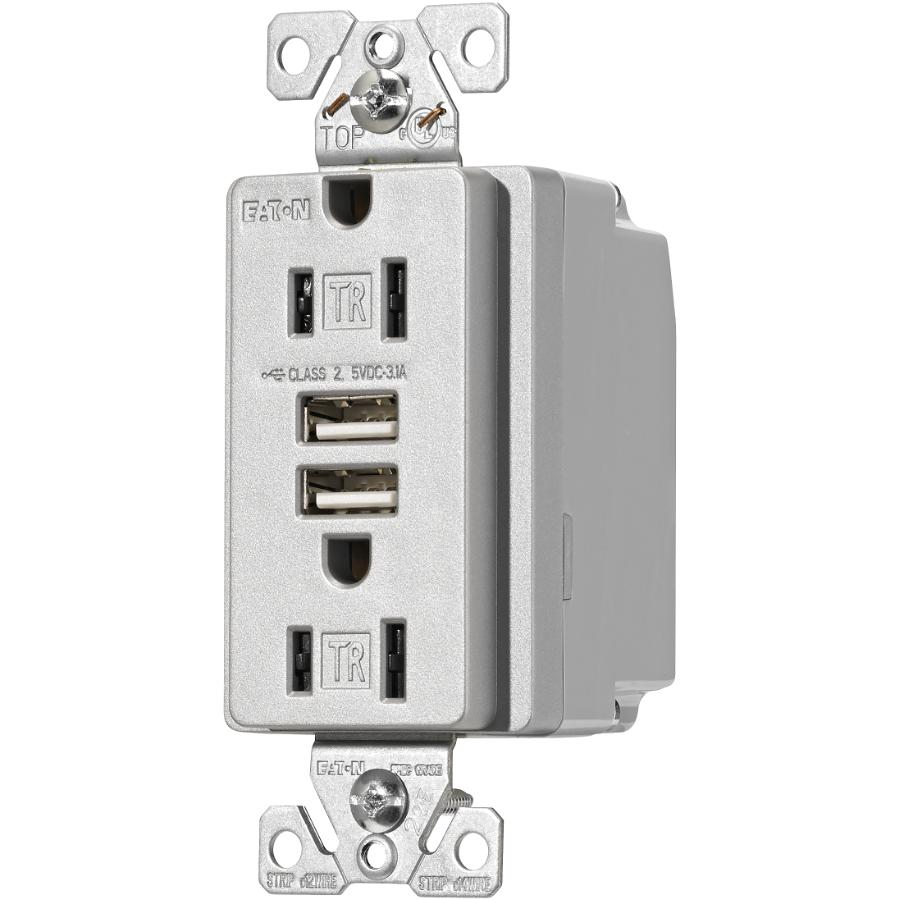 Shop Cooper Wiring Devices 20amp Gray Duplex Electrical Outlet At
