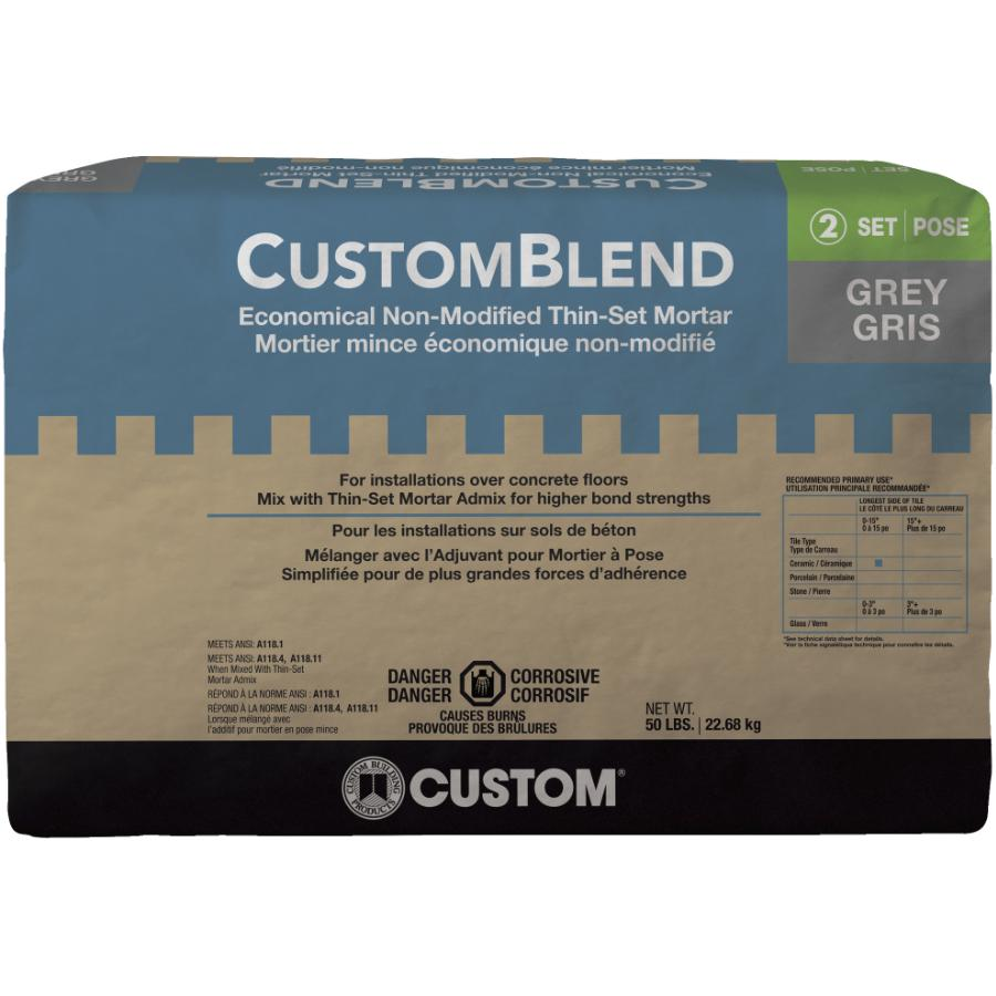 Custom Building Products 50lb Grey Customblend Thinset Mortar Home Hardware