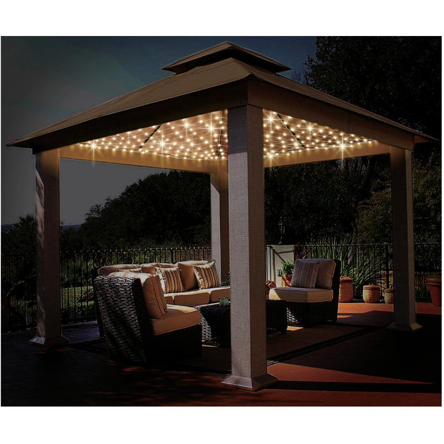 Starburst Lighting 506 Light Warm White Gazebo Net Light Set With Silver Wire Home Hardware
