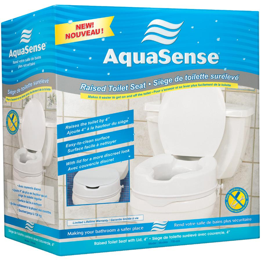 Excellent Aqua Sense Raised 4 Plastic Toilet Seat With Lid Home Theyellowbook Wood Chair Design Ideas Theyellowbookinfo