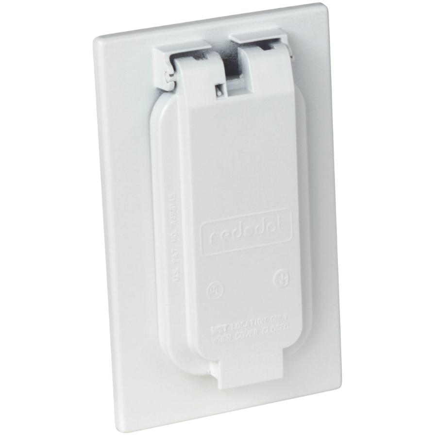 Red Dot 1 Gang Weatherproof White Receptacle Cover Home Hardware