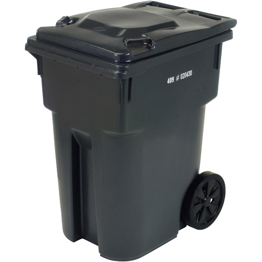 """Ipl 360L Charcoal European Grip Curbside Garbage Can, with 12"""" Wheels    Home Hardware"""