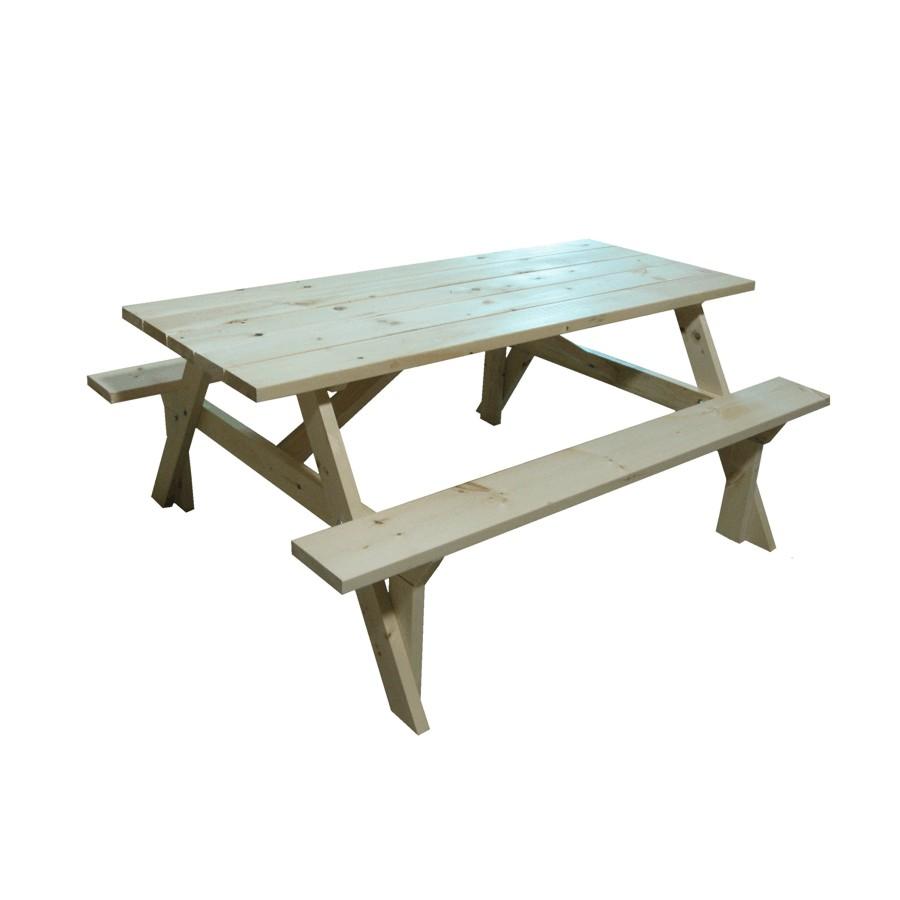 9B WOOD PRODUCTS Table de pique-nique en pin non fini de 9 pi pour extérieur