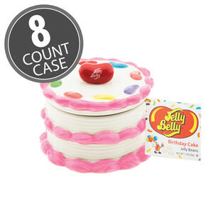 Birthday Cake Candy Dish with Birthday Cake Jelly Beans - 8 Count Case