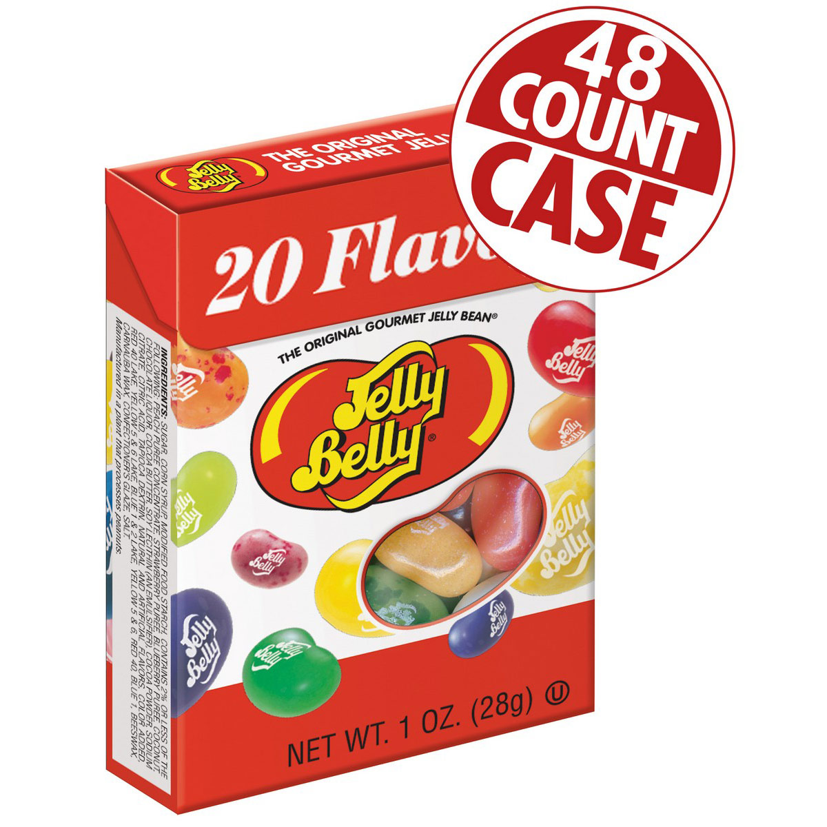 20 Assorted Jelly Bean Flavors - 1 oz Flip Top boxes - 48-Count Case