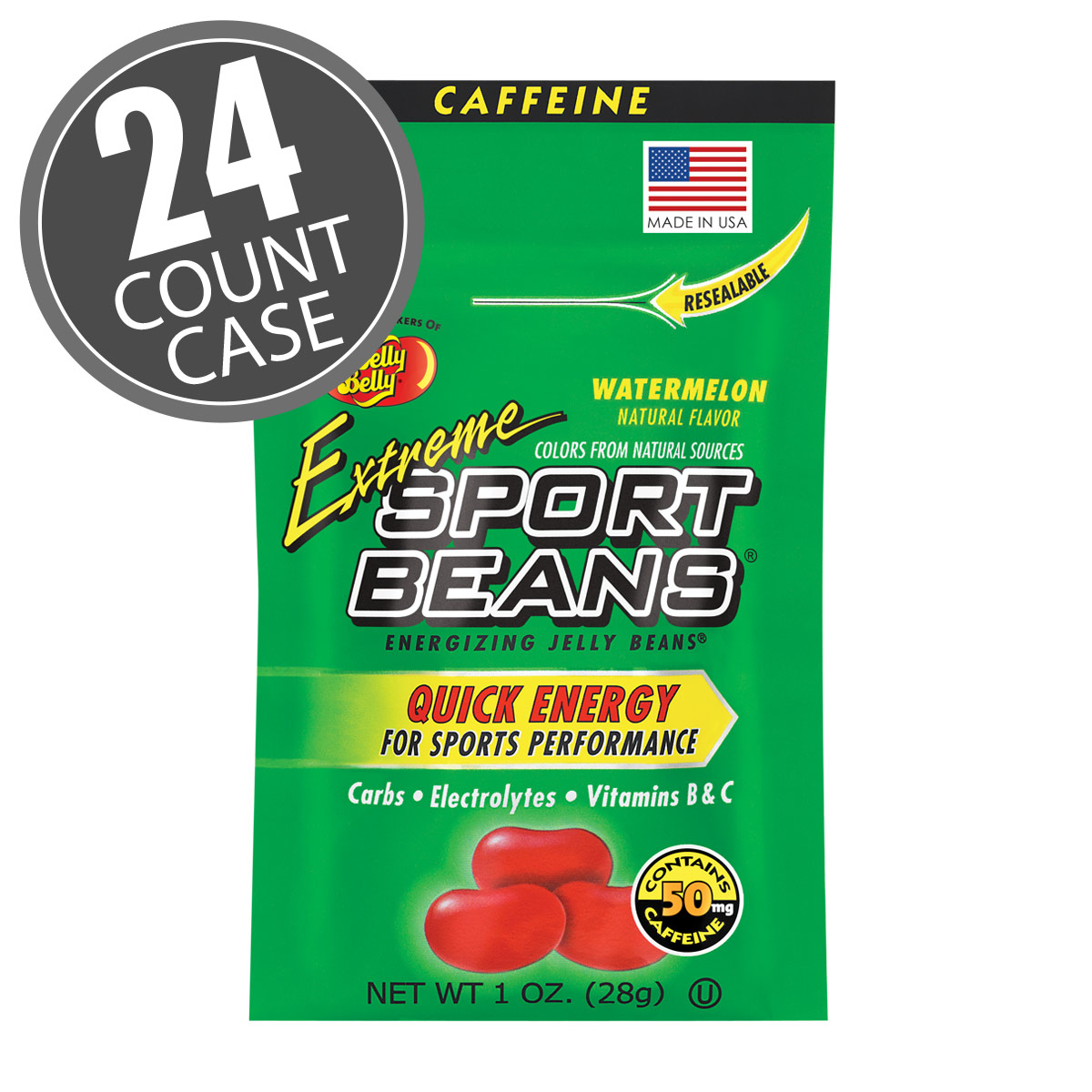 Extreme Sport Beans<sup>&reg;</sup> Jelly Beans with CAFFEINE - Watermelon 24-Pack