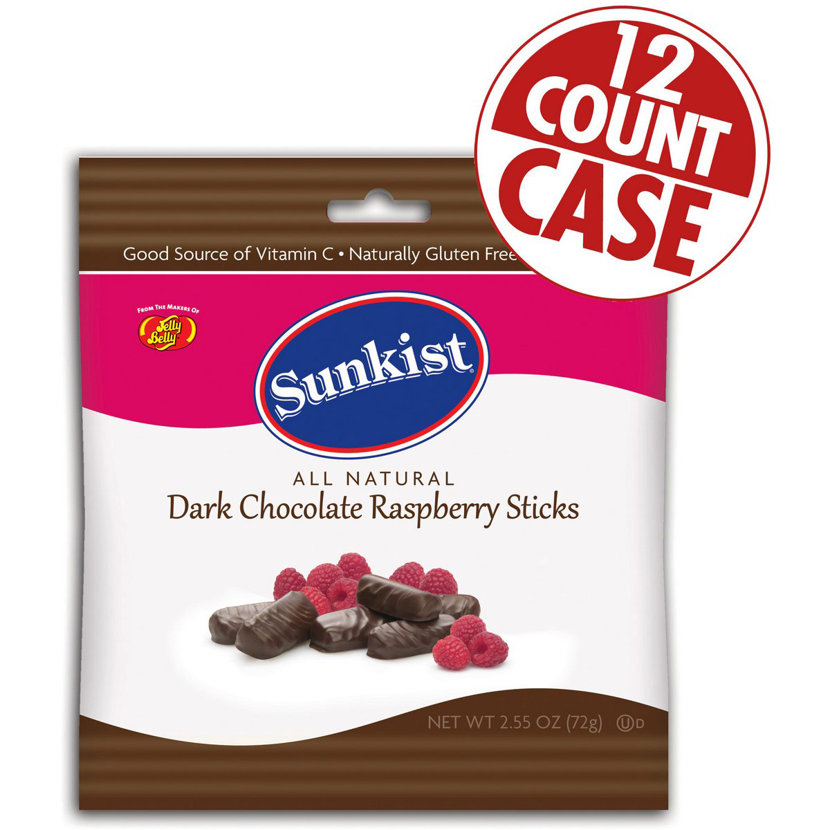 Sunkist® Dark Chocolate Raspberry Sticks - 2.55 oz Bag -12 Count Case