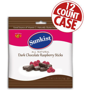 Sunkist<sup>®</sup> Dark Chocolate Raspberry Sticks - 2.55 oz Bag -12 Count Case