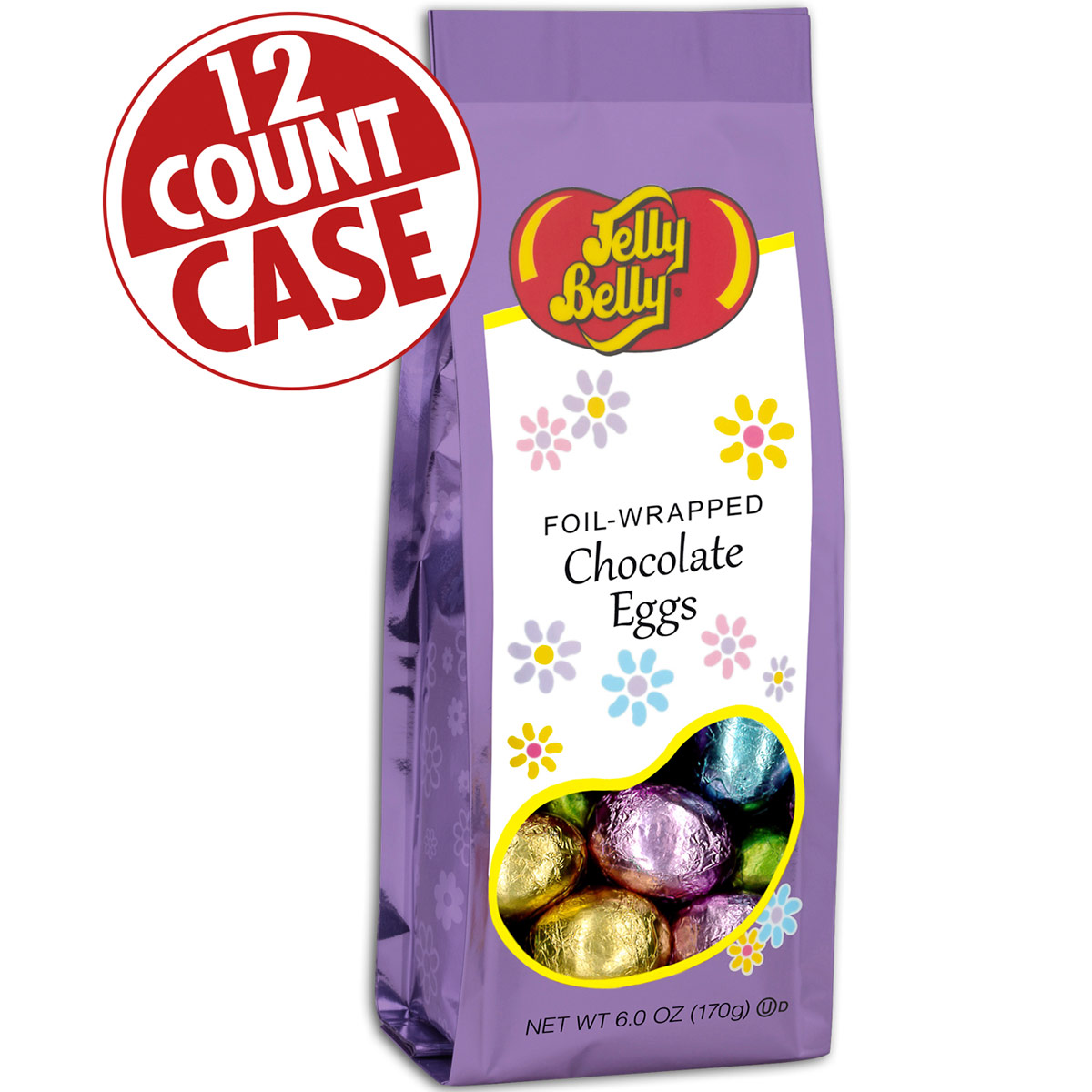 Foil-Wrapped Solid Chocolate Eggs - 6 oz Gift Bags - 12-Count Case