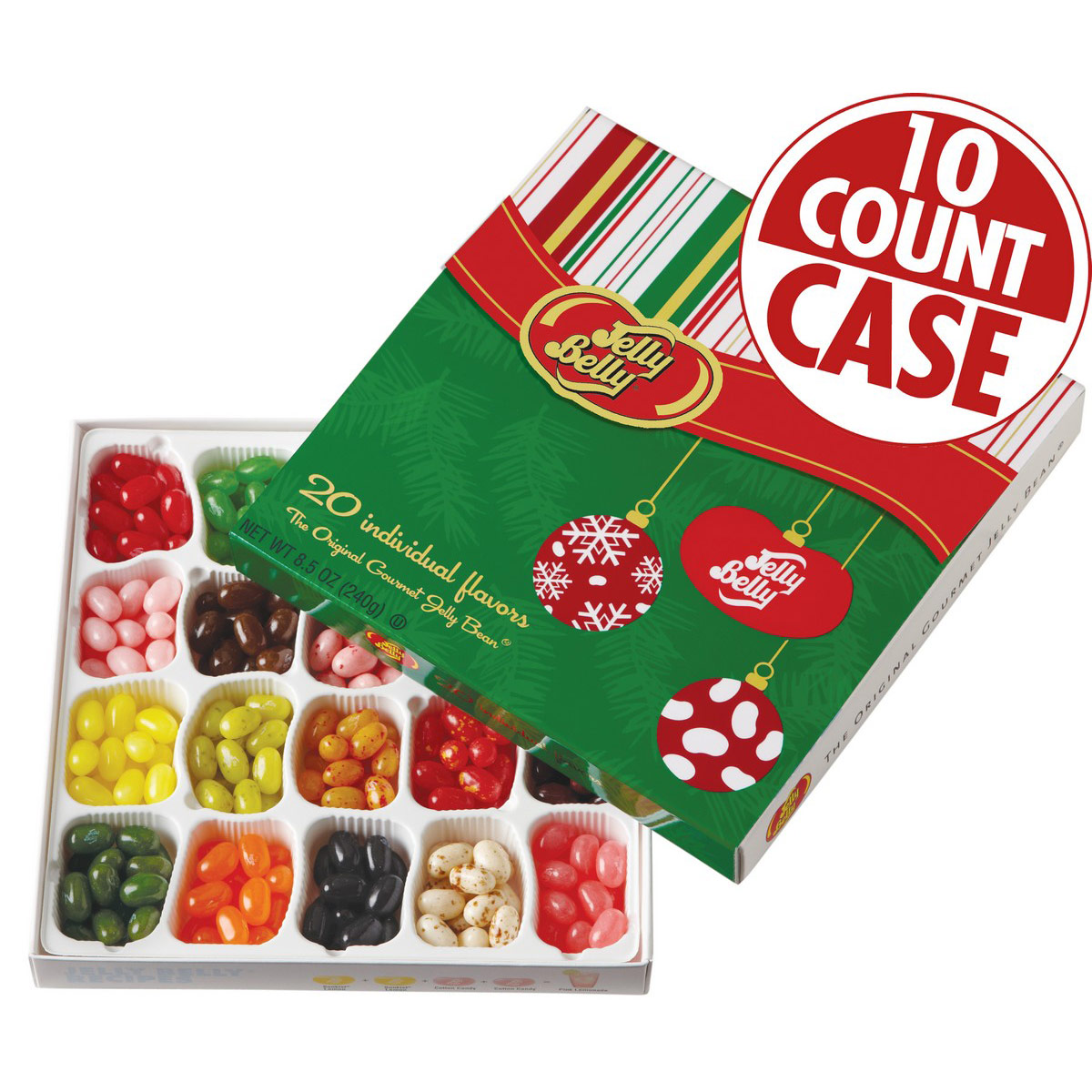 Jelly Belly 20-Flavor Christmas Gift Box - 10-Count Case