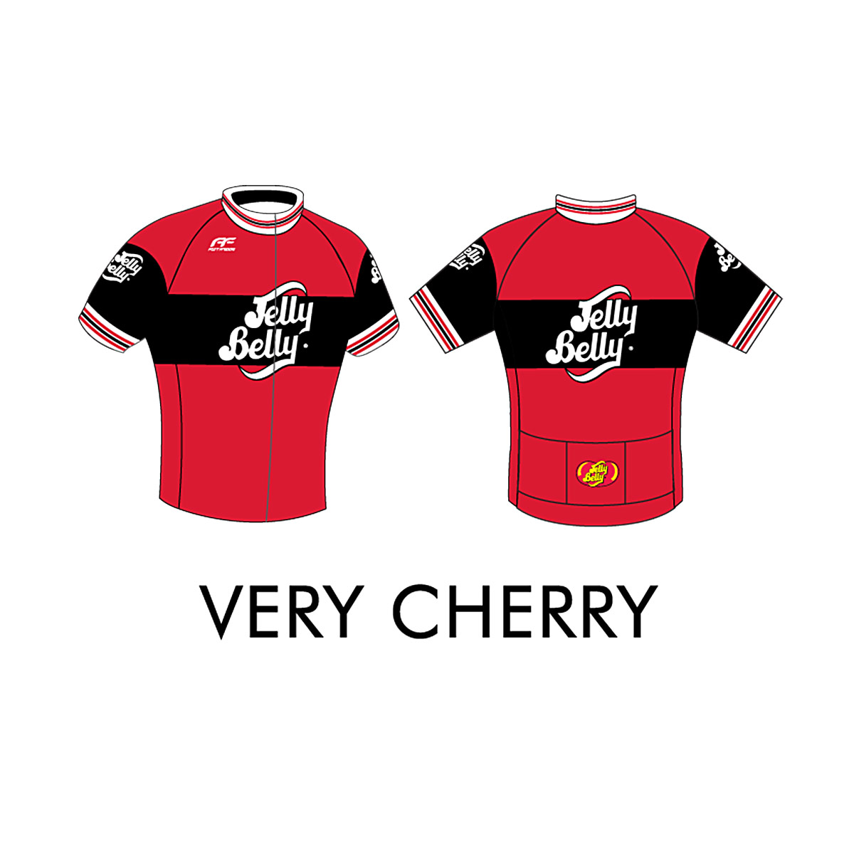Jelly Belly Very Cherry Retro Cycling Jersey - Adult - Extra Small