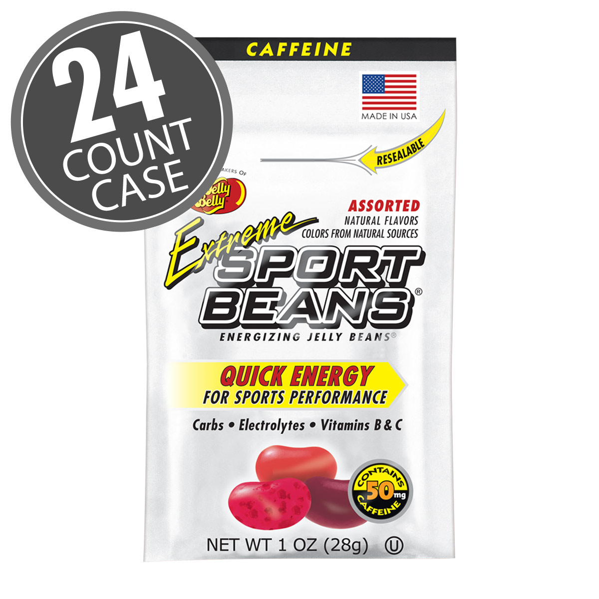 Extreme Sport Beans® Jelly Beans with CAFFEINE -  Assorted Flavors 24-Pack