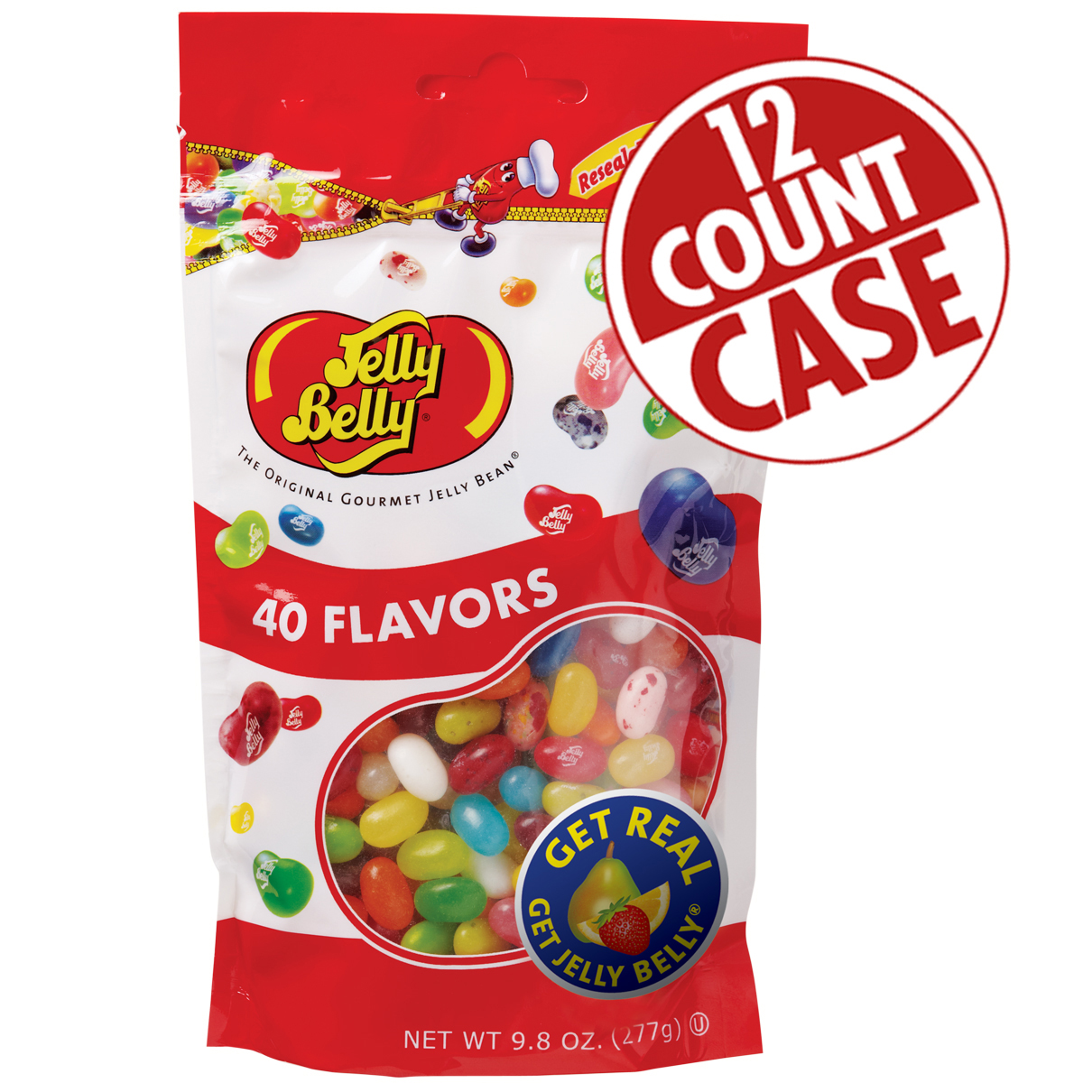 40 Assorted Jelly Bean Flavors - 9.8 oz Bags - 12-Count Case