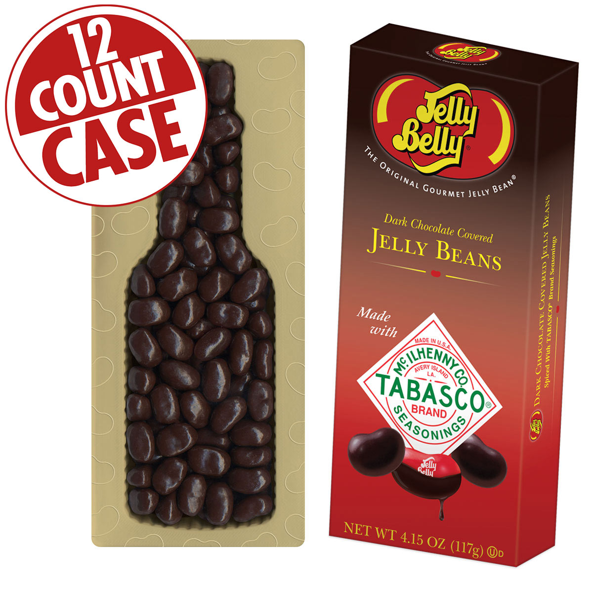 TABASCO<sup>®</sup> Dark Chocolate Covered Jelly Beans - 4.15 oz Gift Box - 12 Count Case