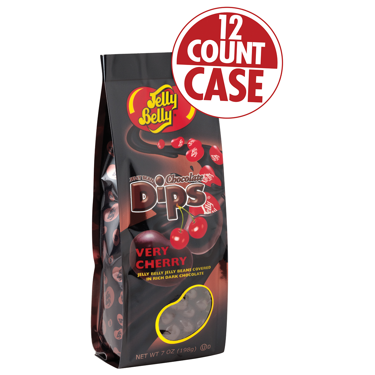 Jelly Bean Chocolate Dips<sup>&reg;</sup> - Very Cherry 7 oz Gift Bag - 12 Count Case