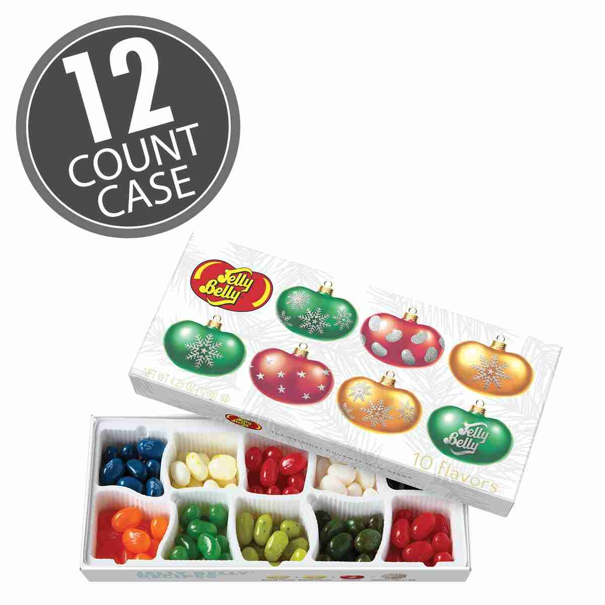 Christmas Flavors.Jelly Belly 10 Flavor Christmas Gift Box 12 Count Case