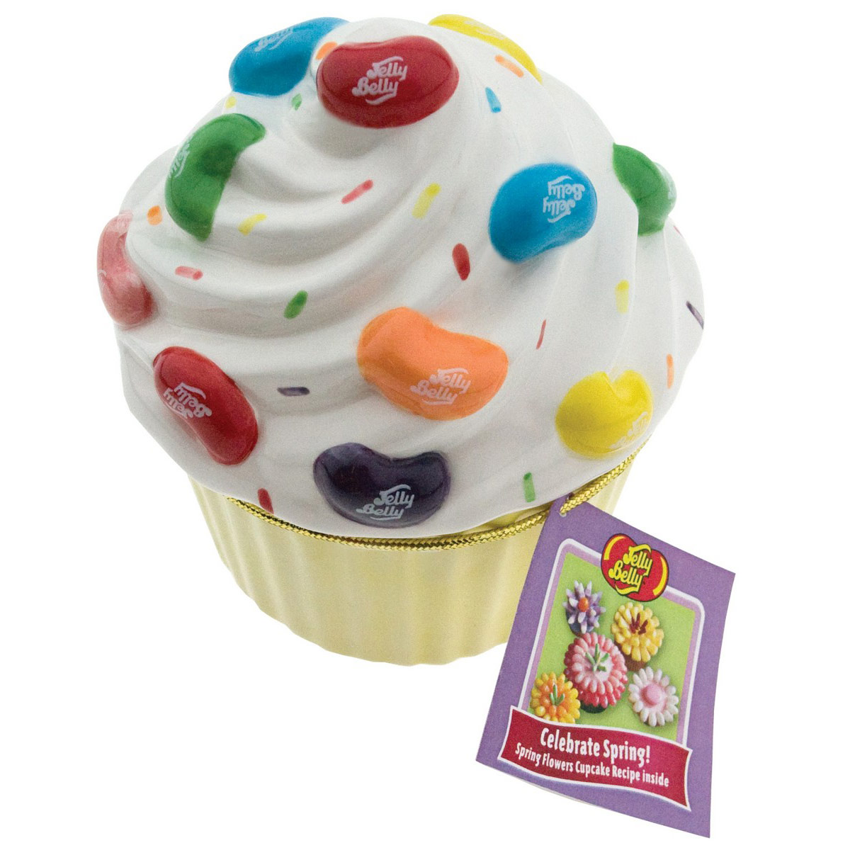 Ceramic Cupcake Candy Dish with 20 Jelly Bean Flavors Mix