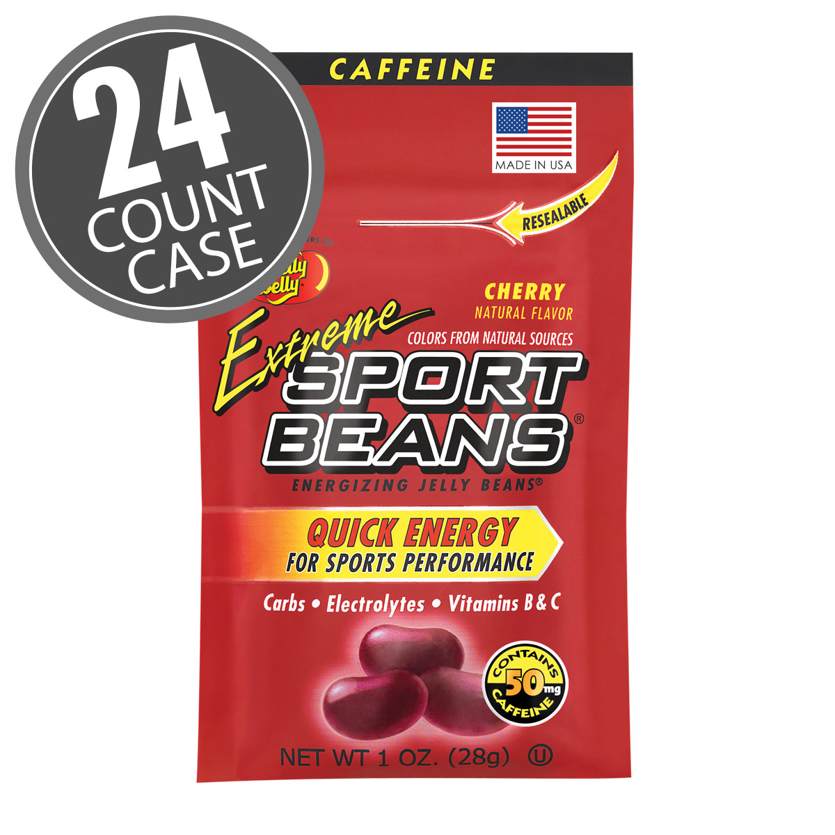 Extreme Sport Beans<sup>&reg;</sup> Jelly Beans with CAFFEINE - Cherry 24-Pack