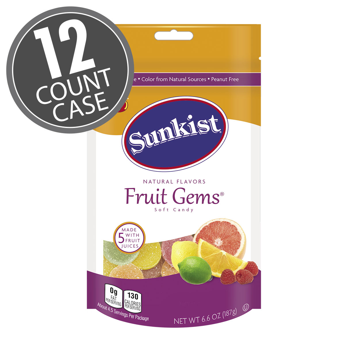 Sunkist<sup>®</sup> Fruit Gems<sup>®</sup> - 6.6 oz Pouch Bag - 12 Count Case