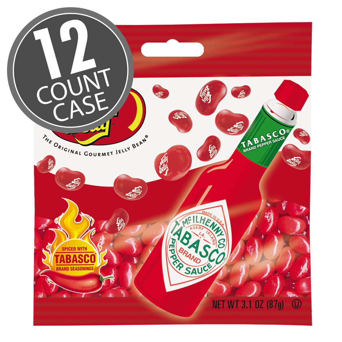 TABASCO<sup>®</sup> Jelly Beans - 3.1 oz Bag - 12 - Count Case