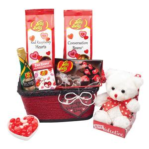 Valentine S Day Sweet Treats Gift Basket With Teddy Bear Jelly