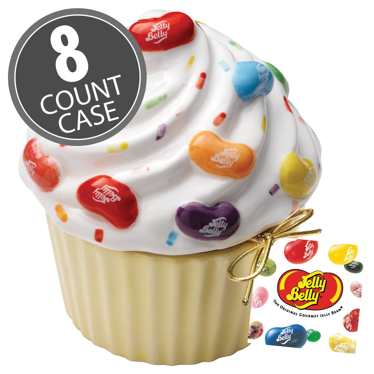 Ceramic Cupcake Candy Dish with 20 Assorted Jelly Bean Flavors Mix - 8-Count Case