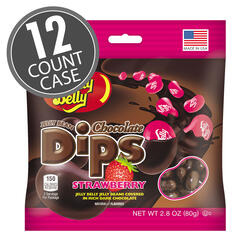 Jelly Bean Chocolate Dips® - Strawberry - 2.8 oz Bag - 12 Count Case