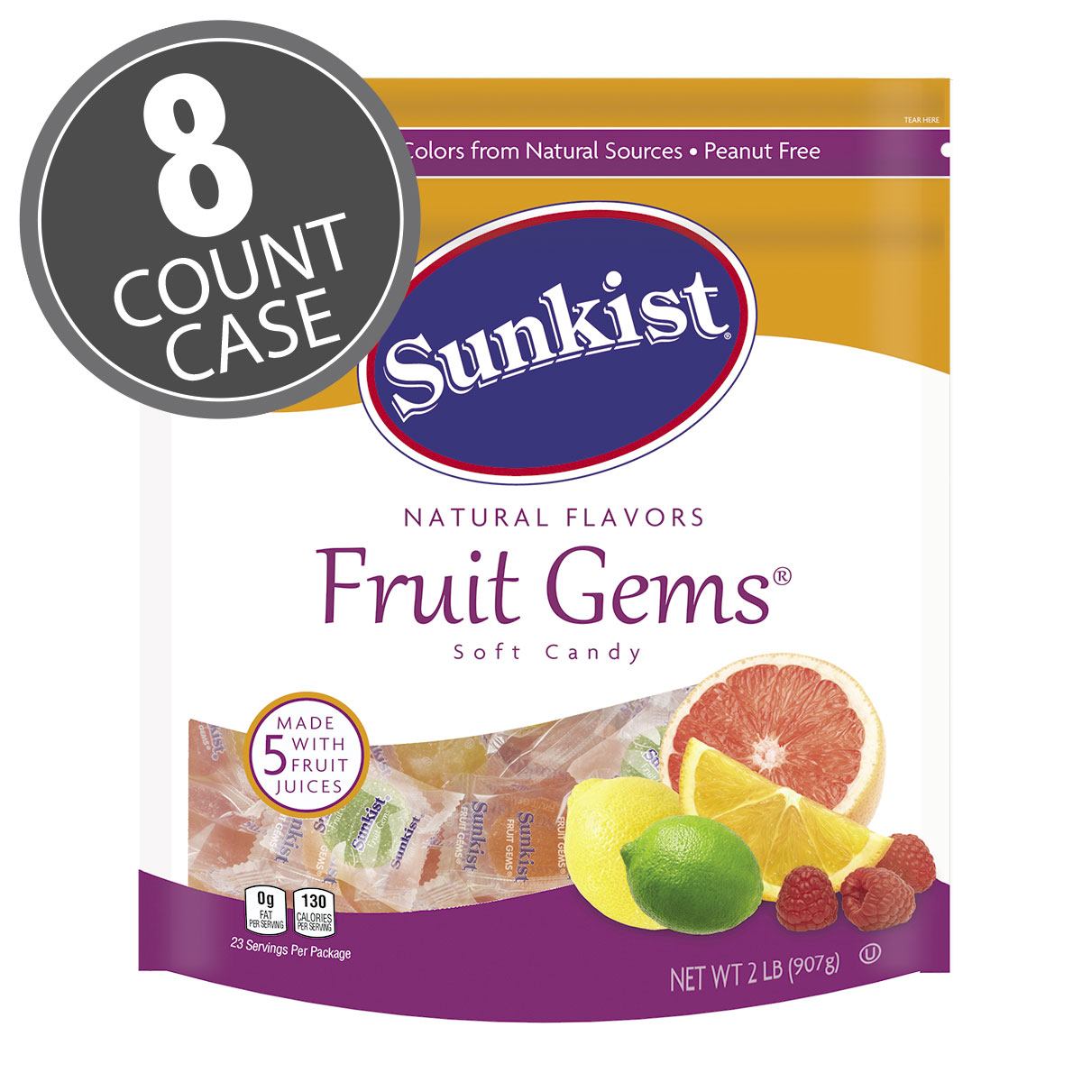 Sunkist<sup>®</sup> Fruit Gems<sup>®</sup> Individually Wrapped - 2 lb Pouch - 8-Count Case