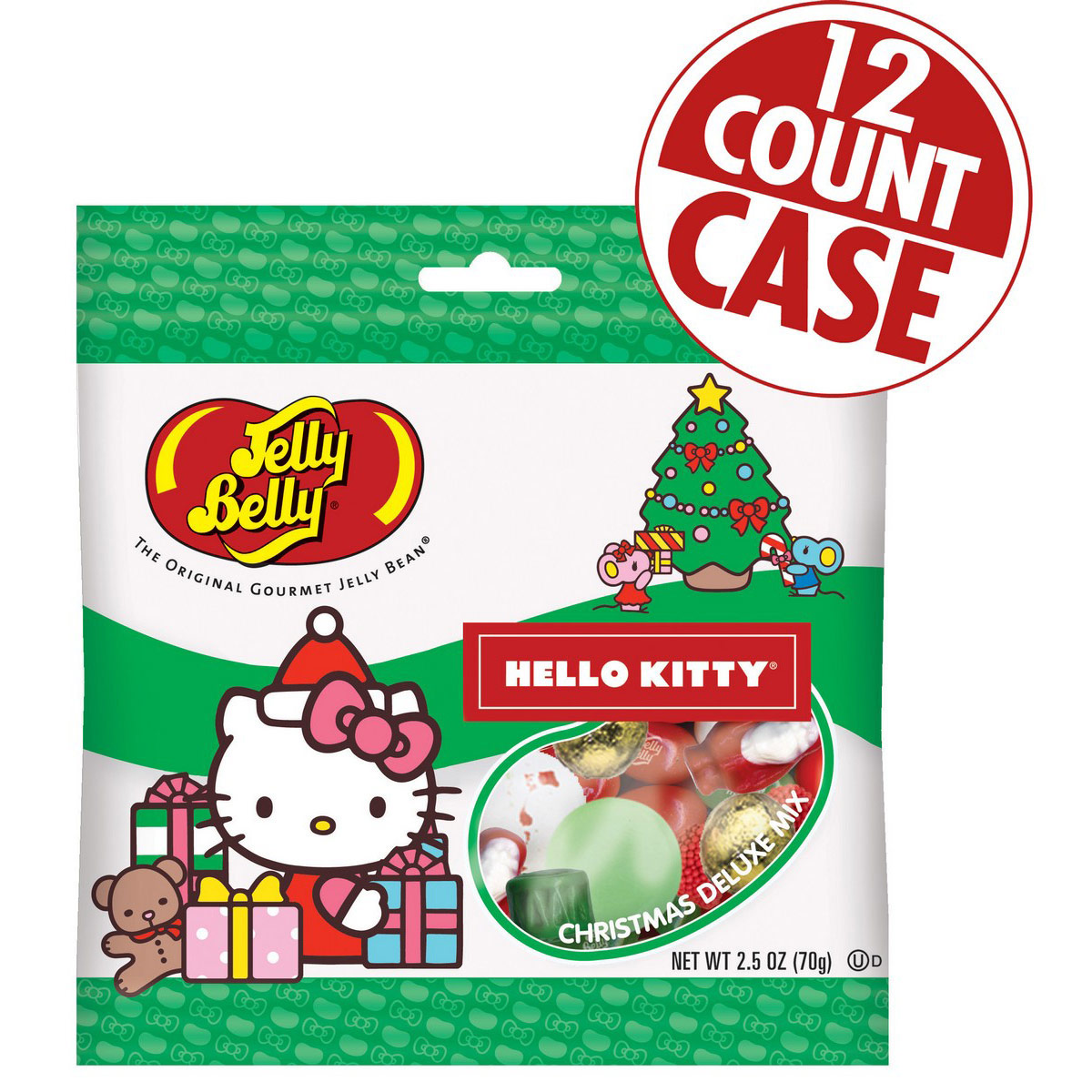 Hello Kitty<sup>&reg;</sup> Jelly Belly Christmas Deluxe Mix - 2.5 oz Gift Bag - 12 Count Case