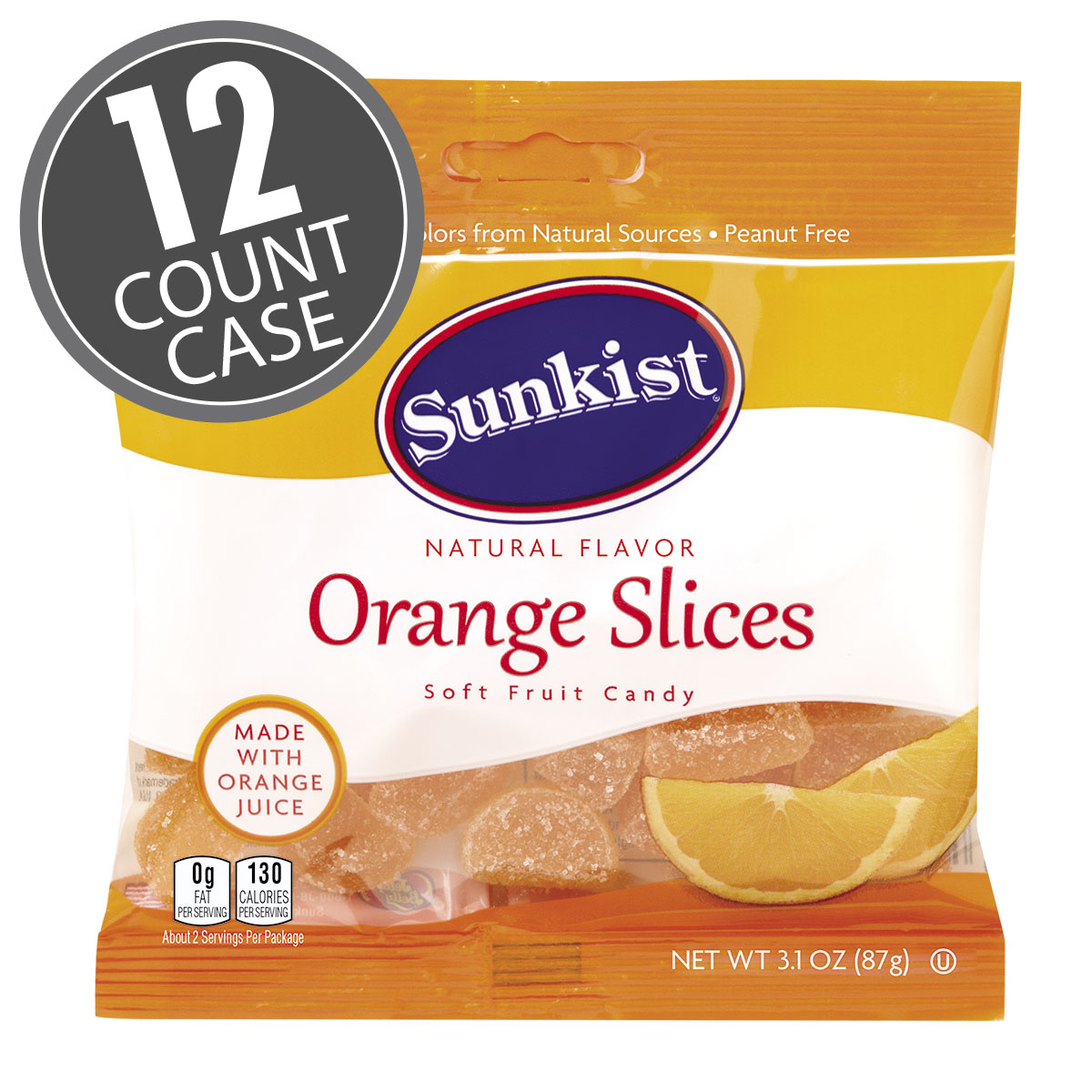 Sunkist® Orange Slices - 3.1 oz Bag - 12-Count Case