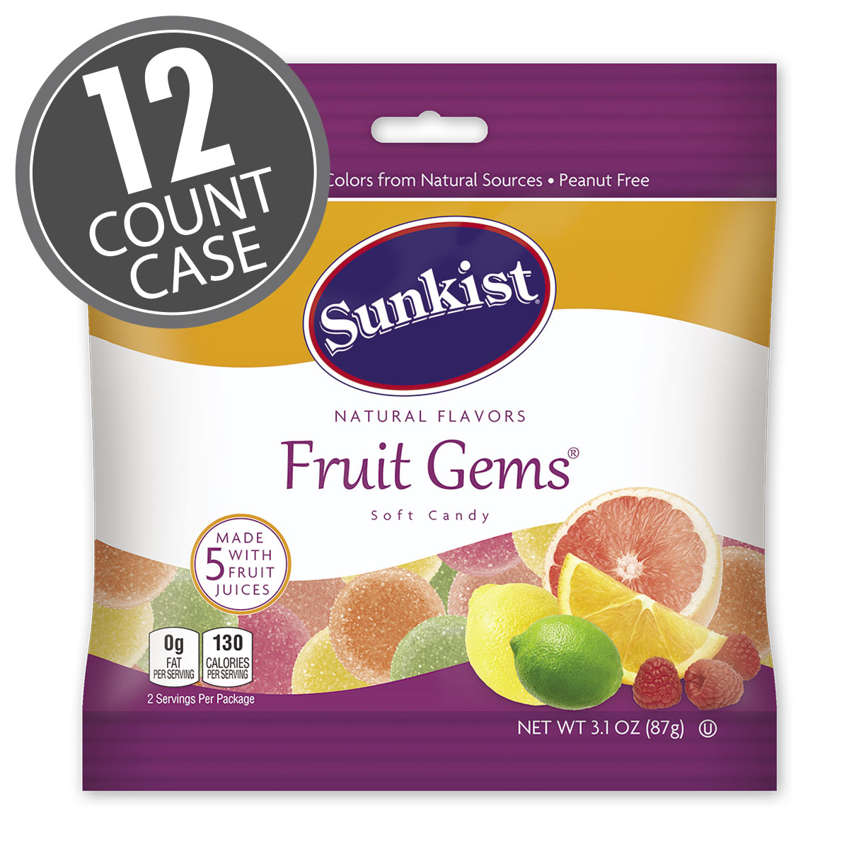 Sunkist<sup>®</sup> Fruit Gems<sup>®</sup> - 3.1 oz Bag - 12- Count Case