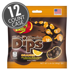 Jelly Bean Chocolate Dips® - Orange - 2.8 oz Bag - 12 Count Case