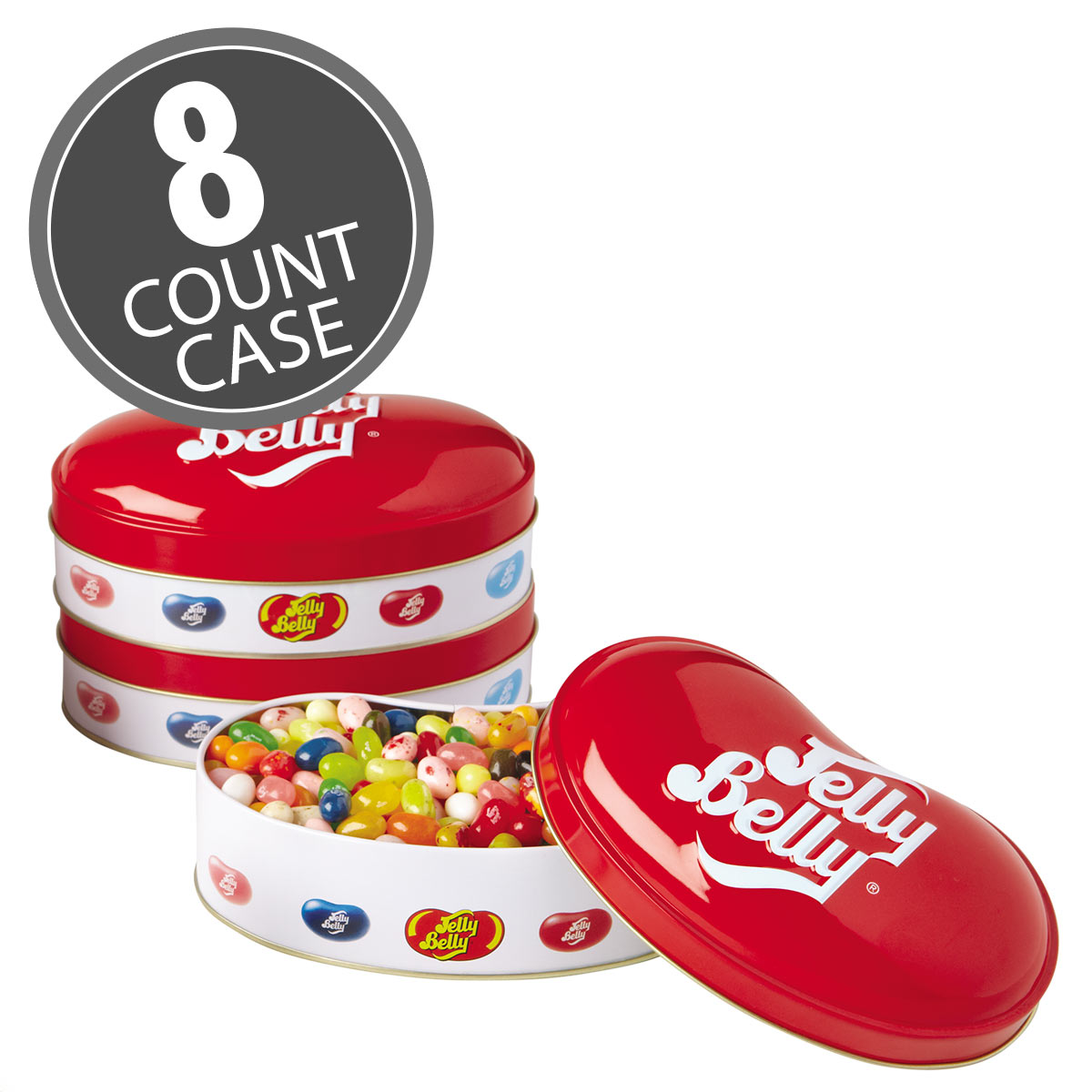 Jelly Belly Bean Tin with 6.5 oz of 20 assorted flavor jelly beans. The large bean-shaped container can be refilled with other candy!
