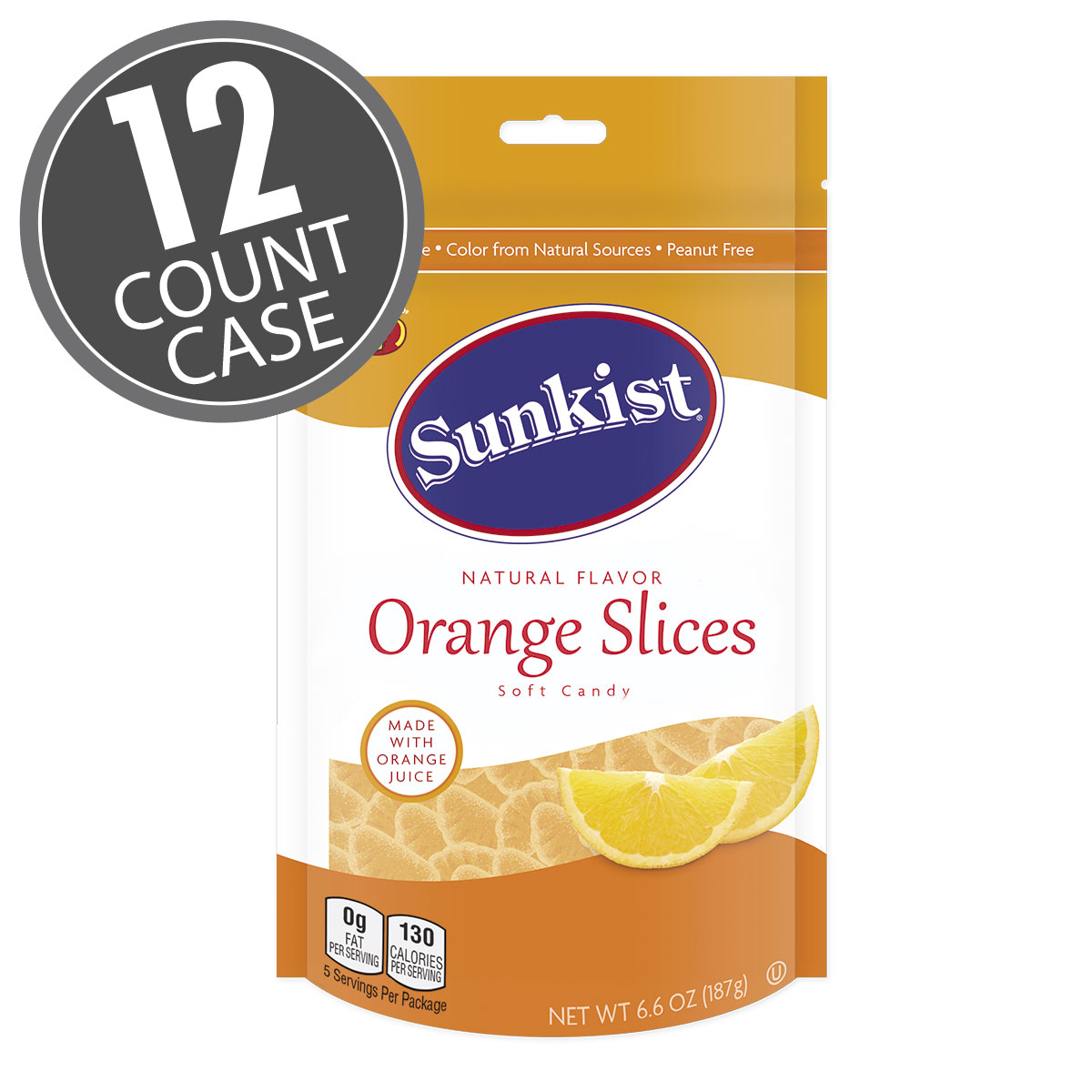 Sunkist<sup>®</sup> Orange Slices  - 6.6 oz Pouch Bag - 12 Count Case