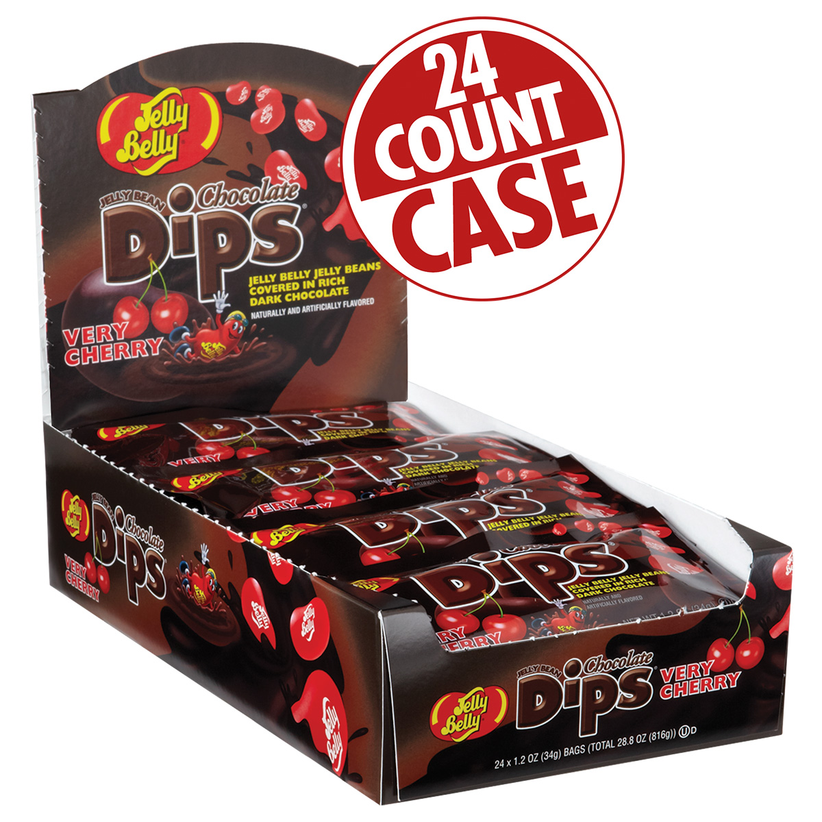 Jelly Bean Chocolate Dips<sup>&reg;</sup> - Very Cherry - 1.2 oz Bag - 24 Count Case