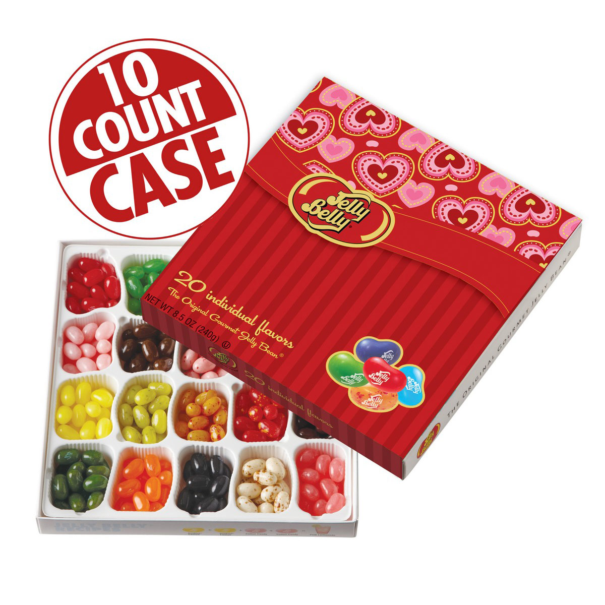 Jelly Belly 20-Flavor Valentines Day Gift Box- 10-Count Case