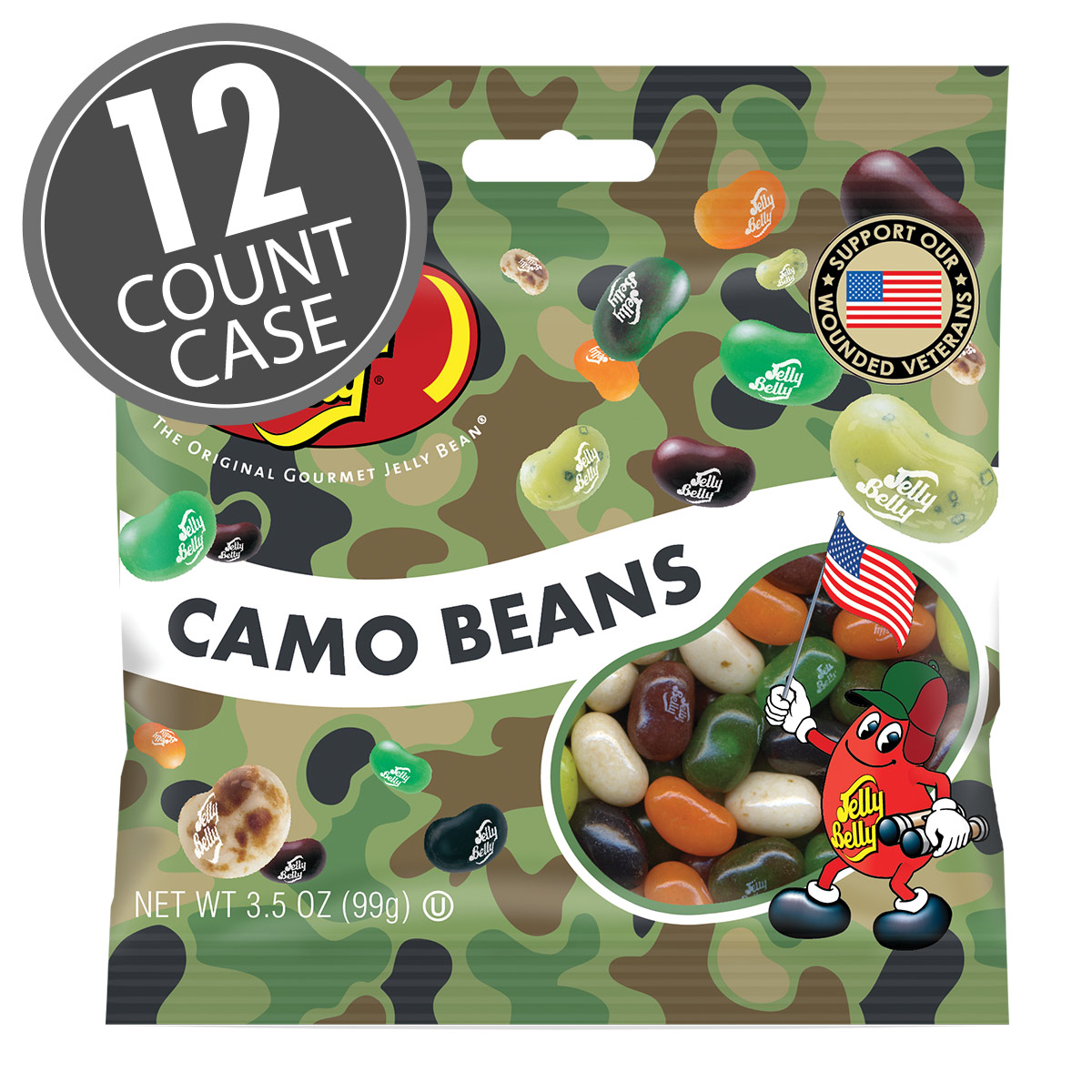 Camo Bean Jelly Beans - 3.5 oz Bag - 12 Count Case