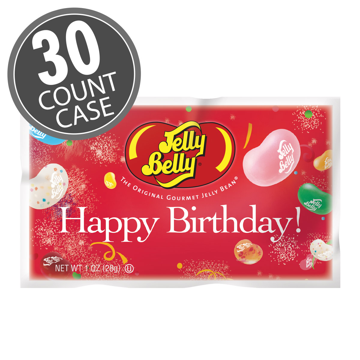 Happy Birthday Assorted Flavors Jelly Beans - 1 oz Bag - 30 Count Case