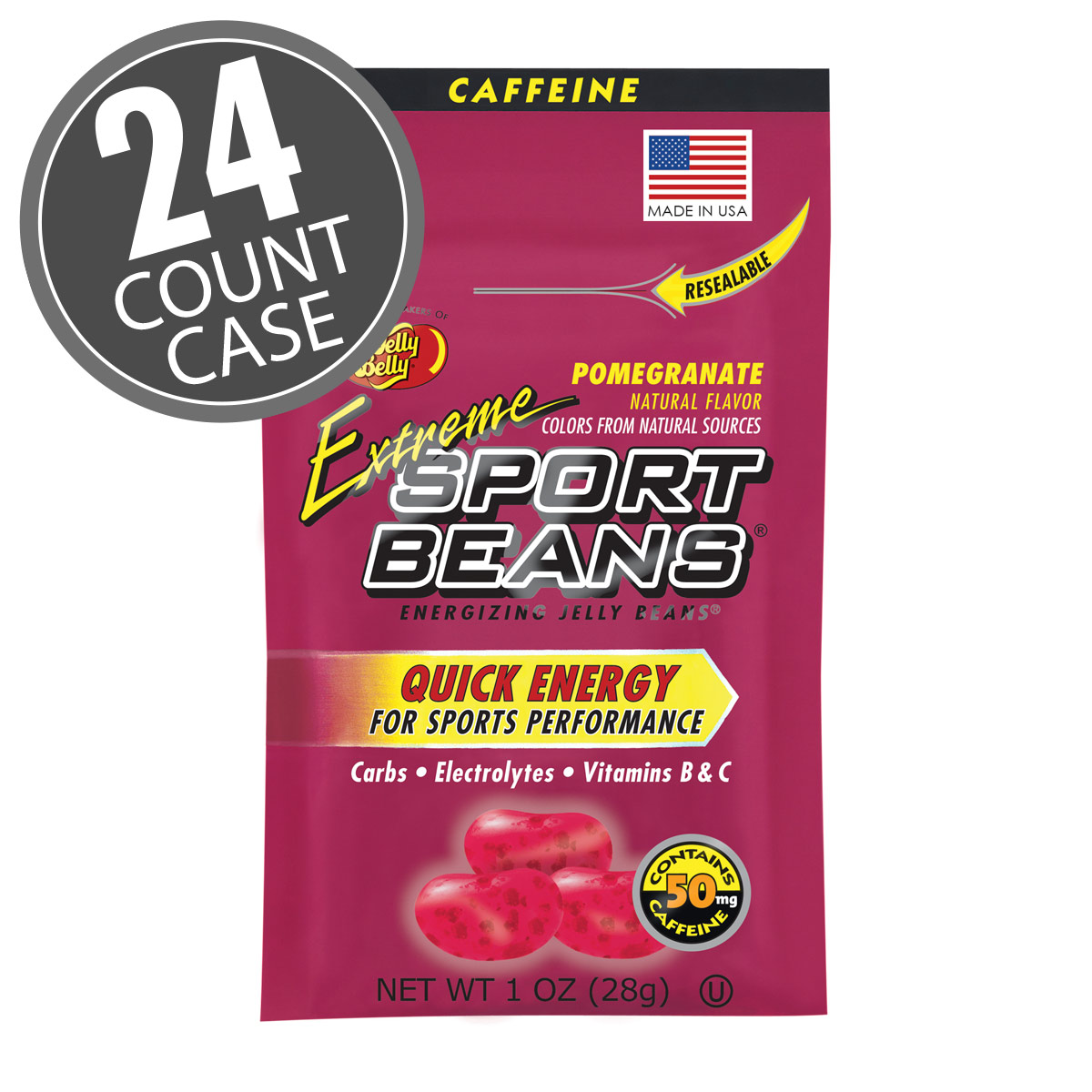 Extreme Sport Beans<sup>®</sup> Jelly Beans with CAFFEINE - Pomegranate 24-Pack