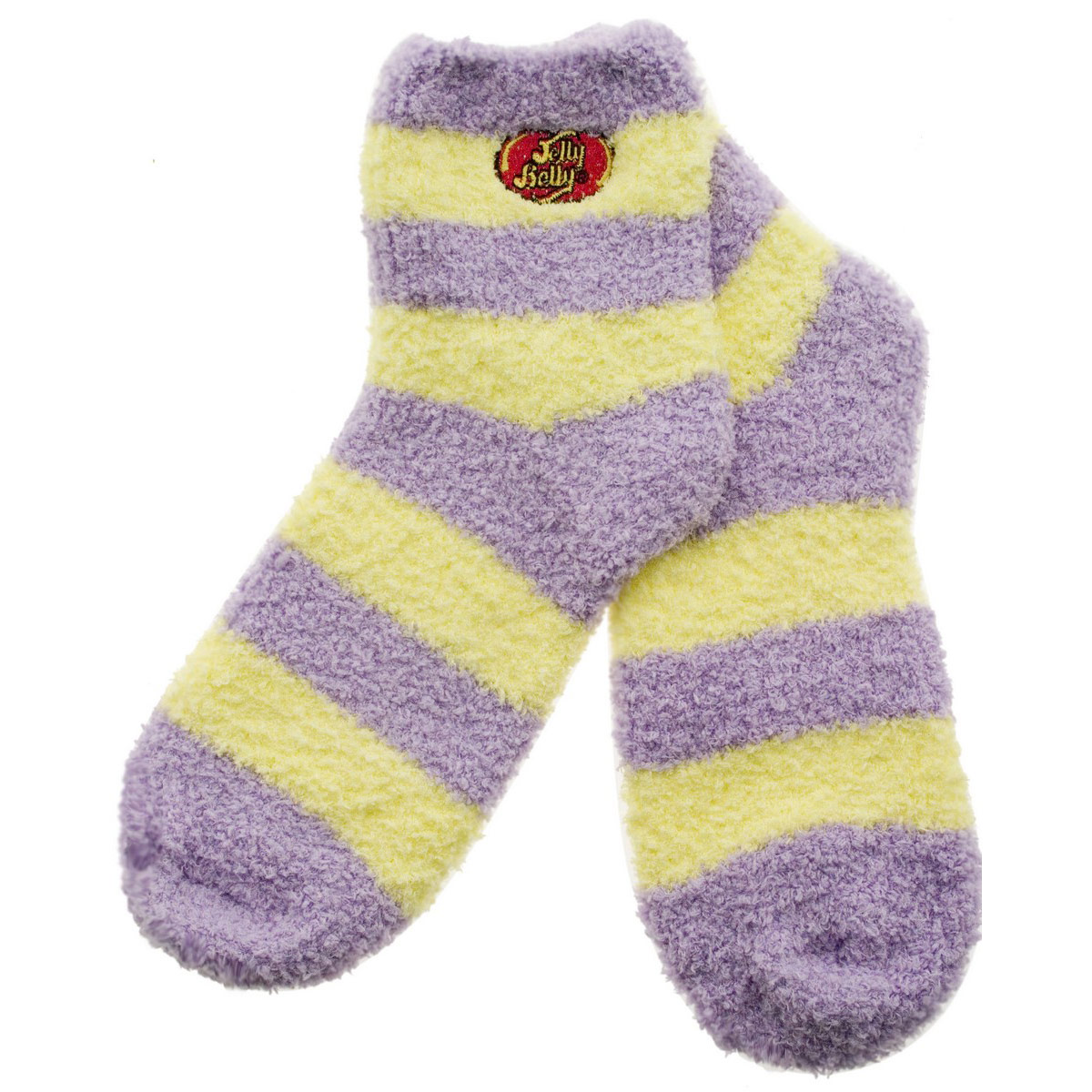 Jelly Belly Fuzzy Socks - Purple and Yellow - Medium