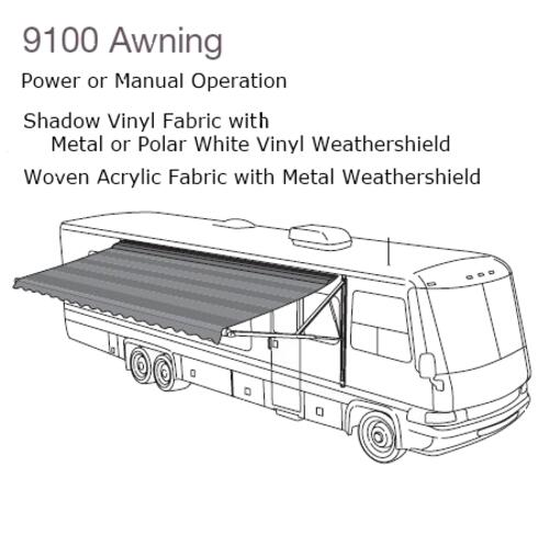 9100 Power Awning,Black/Gray Shadow,18',White|910BT18.000B