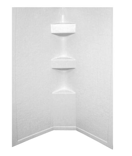 "Neo Angle Shower Wall Surround; 34""x 34""x 68"" -Tile (Parchment) Image 1"